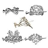 F Fityle 5 Piezas Pinzas para El Cabello con Nudo Celta Vikingo Horquillas para El Cabello - Accesorios para El Cabello Vikingos Pasadores para El Cabello Pasa