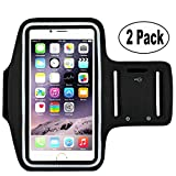 [2pack] Sports Armband Sweatproof Running Armbag Gym Fitness Workout Cell Phone Case Key Holder Wallet Card Slot iPhone X 8 7 6 6s Plus Samsung Galaxy S5 S6 S7 S8 Edge 5.5 inch (Black)