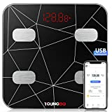 Body Fat Scale,YOUNGDO Rechargeable Weighing Scales Body Weight with 19 Measurements,Bluetooth BMI Fitness