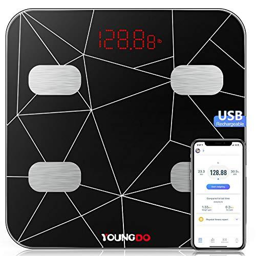 Báscula Grasa Corporal, YOUNGDO Báscula Baño Digital Bluetooth Inteligente Con USB Carga 23 Medidas Corporales Esenciales Grasa Corporal, Músculo, BMI etc. 999 Usuarios para Android e iOS