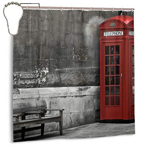 Famoso Arranque de teléfono británico en Las Calles de Londres Icono Importante de la Foto de la Vida Urbana de la Ciudad, Cortina de Ducha de decoración del hogar 72inX72in