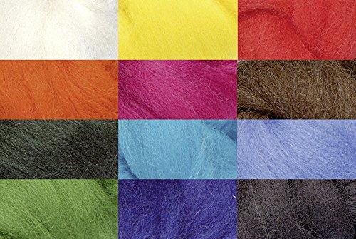 Knorr prandell 212506300 Märchenwolle (Mix zum Nass- und Trockenfilzen geeignet, 100 g, in 12 Farben, 100% Deutsche Schafwolle)