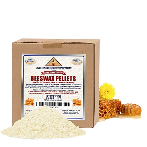 All Natural, Cosmetic Grade White Beeswax PELLETS PASTILLES. Bulk, Grade A, Triple Filtered Ideal for DIY Skincare, Candle Making & Lip Balm Projects (India). (10 LB)