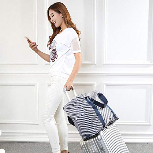 Fslt New foldable big travel bag waterproof suitcase and duffel bag ladies large capacity weekend bag with overnight tote bag-Navy