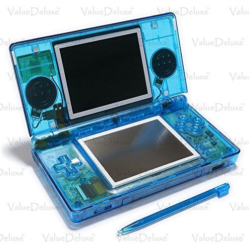 ValueDeluxe Custom Transparent Blue Nintendo DS Lite System Hand held Gaming Console with Bonus World AC Adapter