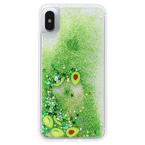 LUVI for iPhone 6/6s Liquid Case Funny Shiny Stars Sparkle Green Quicksands Shell Flowing Floating Ultra Thin Clear Bumper Fruit Avocado Pattern Glitter Cover Fitted for iPhone 6/6s 4.7'
