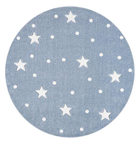 Livone Kinderzimmer Baby Teppich Kinderteppich Punkte Sterne blau grau Weiss Größe 133 cm rund