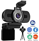 Xinidc Full 1080P HD Webcam with Microphone, USB Webcam for Laptop and Desktop, External Webcam, Streaming PC Web Camera with Privacy Cover and Tripod, Widescreen Webcam for Zoom Skype YouTube