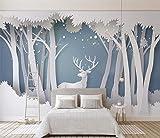 Sdefw Papel Tapiz De Foto Personalizado Nordic Simple 3D Forest Elk Wallpaper Sala De Estar Dormitorio Habitación De Niños TV Fondo De Pantalla Decorativ-280X200Cm