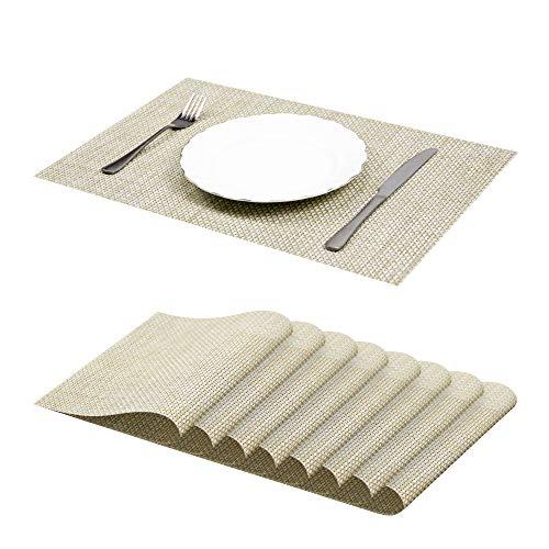 Jujin Juego de 8 Manteles Individuales Antideslizantes, Lavables, PVC, Resistentes al Calor, para Mesa de Comedor Beige