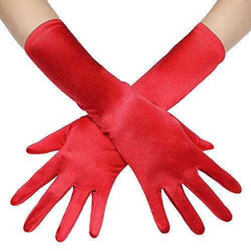 Coucoland Damen Handschuhe Satin Classic Opera Fest Party Audrey Hepburn Handschuhe 1920s Handschuhe Damen Lang Kurz Elastisch (Rot/38cm)