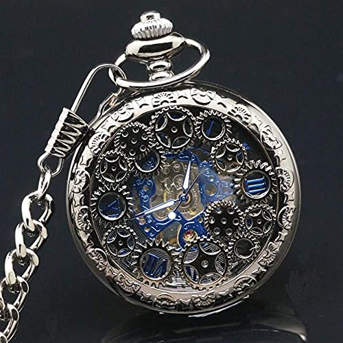 Reloj de Bolsillo, Acero de tungsteno Engranaje mecánico Negro Fresco Reloj de Bolsillo mecánico con Cara Azul, Reloj de Bolsillo mecánico con Tapa Retro, Reloj de Bolsillo Escala Romana Col