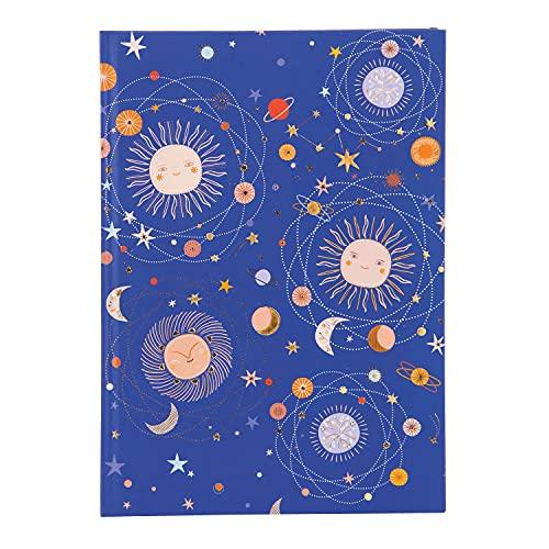 goldbuch 64 377 - Cuaderno DIN A5 Celestial en diseño Turnowsky, con 200 páginas, papel de 100 g/m² en blanco, cubierta de papel de impresión con relieve dorado y marcapáginas, aprox. 15 x 22 cm