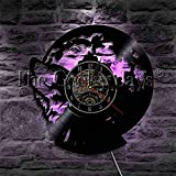UIOLK Wolf How to Call Design iluminación Decorativa Disco de Vinilo Reloj de Pared Bosque Animales Salvajes Reloj de Pared Decorativo lámpara LED