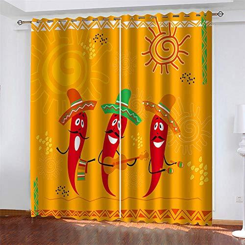 LLWERSJ Cortinas Opacas Hombre de Chile de Dibujos Animados Cortinas Opacas De Térmica Aislante Adecuado Cortina Blackout con Ojales Dormitorio habitación Infantil 2Paneles 2x140x250cm