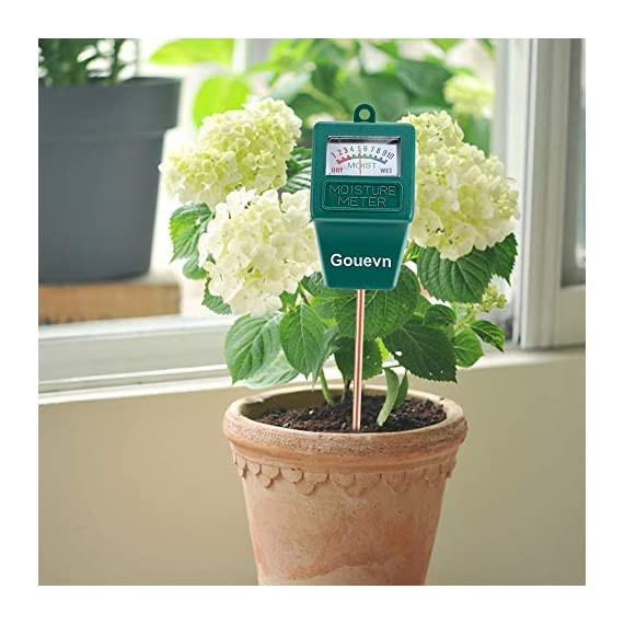 """Gouevn Soil Moisture Meter, Plant Moisture Meter Indoor & Outdoor, Hygrometer Moisture Sensor Soil Test Kit Plant Water… 6 🌼 SIMPLE and EFFECTIVE: Gouevn Soil moisture meter only for testing soil moisture, basic model works stably. Plug and read, responds quickly and provides easily readout. Large dial, ten scales. Includes watering guide for 200 plants printed on the back of the packaging. 🌼 INDOOR & OUTDOOR USE: A super helpful tool for your garden, Yard, lawn, Farm, potted plants etc. Especially is important for some delicate plants which are very sensitive to over or under watering. 🌼 LONG PROBE SENSOR: 7.7"""" probe length specifically designed for measure water at the root level, For use on any plant, even it is big potted plants."""