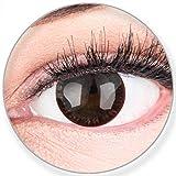 Glamlens SILICONE COMFORT SOFT Dunkelbraune Farbige Kontaktlinsen Choco Dunkelbraun ohne Stärke -Stark Deckend für Helle Dunkel Braune Schwarze Augen + Behälter - 2 Stück- DIA 14.0-0.00 Dioptrien
