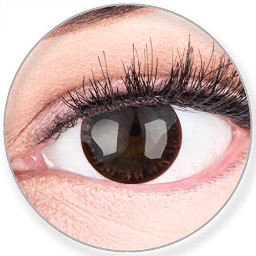 Glamlens SILICONE COMFORT SOFT Dunkelbraune Farbige Kontaktlinsen Choco Dunkelbraun ohne Stärke -Stark Deckend für Helle Dunkel Braune Schwarze Augen + Behälter - 2 Stück- DIA 14.50-0.00 Dioptrien