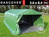 Dancover Zeltgarage Garagenzelt PRO 3,6x8,4x2,68m PVC, mit Bodenplane Abdeckplane, Grün/Grau