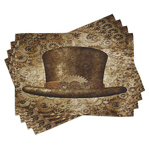 Lunarable Victorian Place Mats Set of 4 Steampunk Hat Fantasy Science Fiction Concept Futuristic Gears Cogs Print Washable Fabric Placemats for Dining Table Standard Size Sand Brown