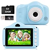 CKATE Kids Camera Toys Dual Lens Digital Selfie Camera for 3-10 Year Old Children 3.5 inch Color Screen 1080FHD with 32GB SD Card, Gifts for Boys and Girls Blue - Best Reviews Guide