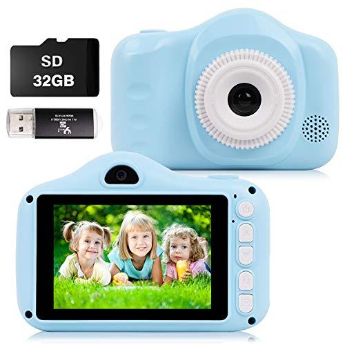 CKATE Kinderkamera Digitale Selfie-Kamera mit zwei Objektiven für 3-10 Jahre alte Babys Kinder 3,5 Zoll Farbbildschirm 1080FHD mit 32GB SD-Karte, Geschenke für Jungen und Mädchen Blau