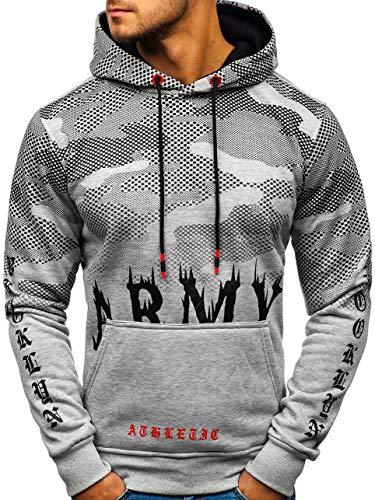 BOLF – Felpa con Cappuccio – Pullover – Sweat-Shirt – Uomo – J.Style DD211 – Grigio – M [1A1]