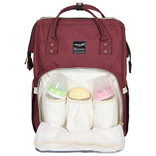 Himawari Sac à langer multifonction, étanche, sac à dos de voyage pour les soins de bébé, grande capacité, élégant et durable (bordeaux)