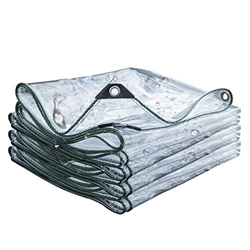 GYOWEI Transparen Tarp, Thickened Tarpaulin, Protective Tarpaulin Covers for Garden Balcony Truck, With Galvanized Eyelets, 580g/M² (Color : A, Size : 2.9 x3.9m)