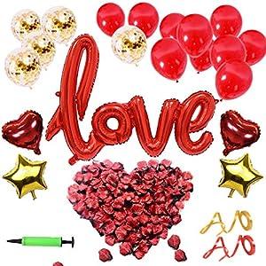 YLIANG Set de Deco para el Día de San Valentín – Globo de Love XXL Mega, Pétalos de Rosa de 500 Piezas para un Ambiente…