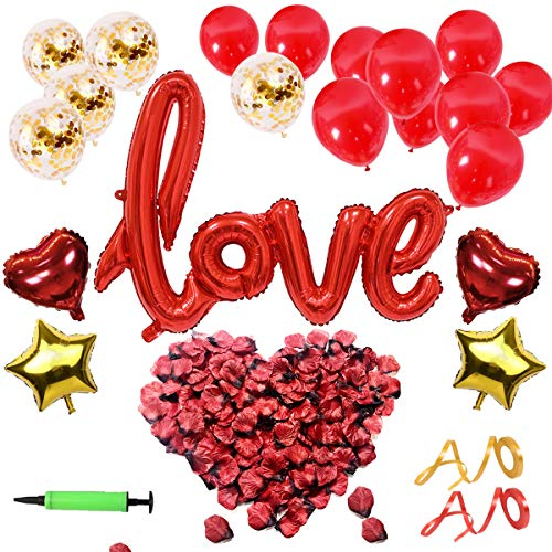 DANXIAN Valentinstag Deko Set - XXL Mega Love Ballon, 500 Stück Rosenblätter für Romantische...