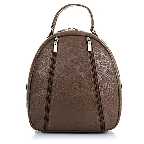 FIRENZE ARTEGIANI. Zaino vera pelle casual donna. Zaino in pelle borsa genuino_piel Dollaro.DAY casual PACK. MADE IN ITALY. VERA PELLE ITALIANA. 26 x 28 cm. colore: marrone