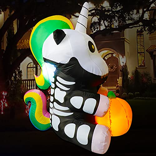 Poptrend Inflatable Halloween Decorations,5.0 FT Inflatable Unicorn Hold Pumpkin Outdoor Halloween Blow Up Yard Decorations Internal LED Lights Halloween Holiday Decorations Home Garden