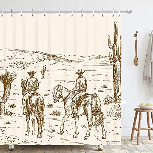 Western Cowboy Bathroom Curtains, American Wild West Desert with Cowboys Polyester Fabric Waterproof Shower Curtains Hooks for Bathroom Decor 72'x72'