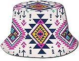 Sombreros de Cubo Transpirables con Parte Superior Plana Cráneos Unisex Hermoso Sombrero de Cubo Sombrero de Pescador de Verano-Color Retro Tribal Navajo-Talla única