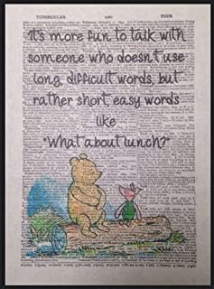 Winnie The Pooh Quote Vintage Dictionary Page Picture Print Friends Lunch Piglet Quirky Funky Love Cute