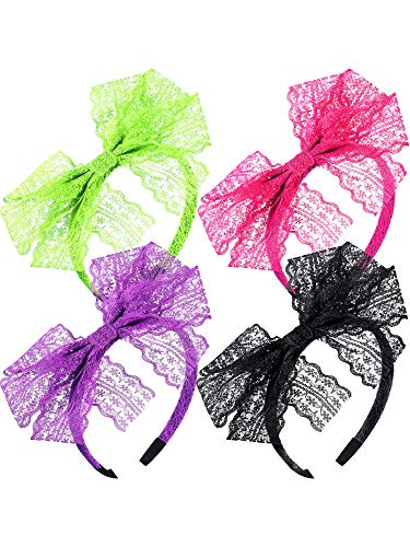 80's Lace Headband Costume Accessories for 80s Theme Party, No Headache Neon Lace Bow Headband, Set of 4 (4 Colors B)