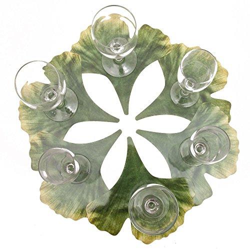 ROSEMARIE SCHULZ® 12-er Set Blumen Glasuntersetzer Motiv Ginkgoblatt Grün - Bar, Kaffee, Tee, Bier und Wein Glas Untersetzer, 20x20cm