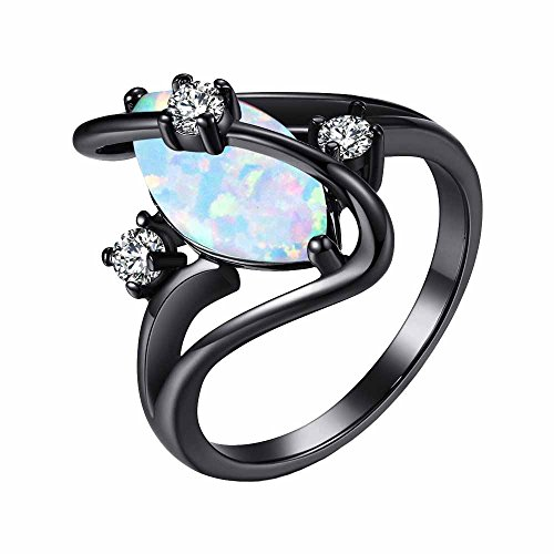 MGIE Marquise Cut White Fire Opal Women's Men's Fashion Jewelry Black Gold Wedding Engagment Ring