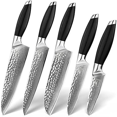 Juego de 5 cuchillos de acero de Damasco de 67 capas con mango G10, cuchillo de cocina, cuchillo de trinchar, cuchillo universal, cuchillo de pelar, cuchillo santoku y cuchillo de carne
