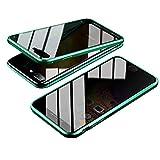 Jonwelsy Anti-Spy Funda para iPhone 8 Plus (5,5 Pulgada), 360 Grados Proteccion Case, Privacidad Vidrio Templado Anti espía Cover, Adsorción Magnética Metal Bumper Cubierta para iPhone 7 Plus (Verde)