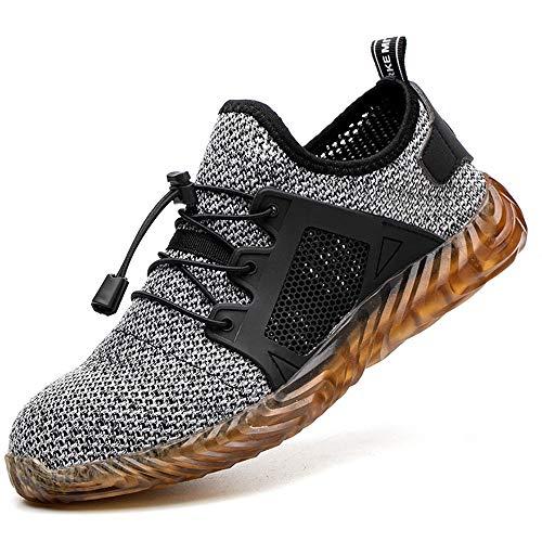 [tqgold] 安全靴 スニーカー メンズ 作業靴 メッシュ 超通気 鋼先芯 ケブラー繊維ミッドソール 軽量 耐滑 耐摩耗 衝撃吸収 クッション性 おしゃれ 男女兼用 大きいサイズ (グレー 27.5cm)