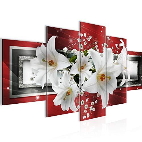Bilder Blumen Lilien Wandbild 200 x 100 cm Vlies - Leinwand Bild XXL Format Wandbilder Wohnzimmer Wohnung Deko Kunstdrucke Rot 5 Teilig - MADE IN GERMANY - Fertig zum Aufhängen 204751b