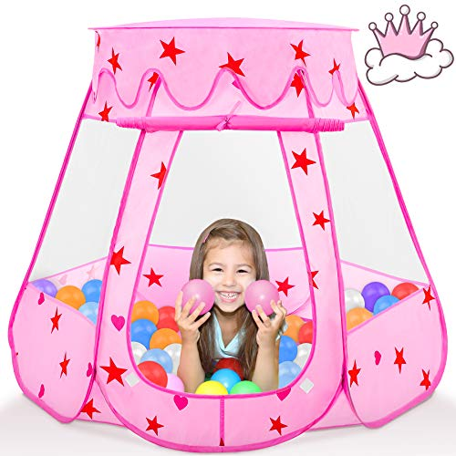 Fivejoy Princess Play Tent Pink, Installation-Free Pop Up Tent For Girls With Moveable Sunroof - Princess Castle Girl Tent With Storage Bag