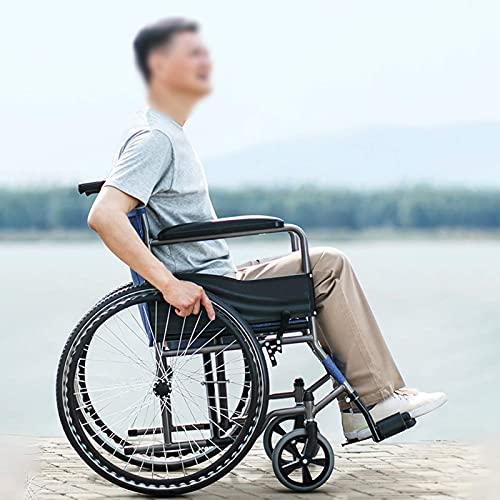 Sillas De Ruedas para Discapacitados, Silla De Ruedas Autopropulsada Plegable, Carro De Viaje para Personas Mayores, Ayuda para Caminar Manual con Asiento, QueSoporta 100 Kg (Color: A)