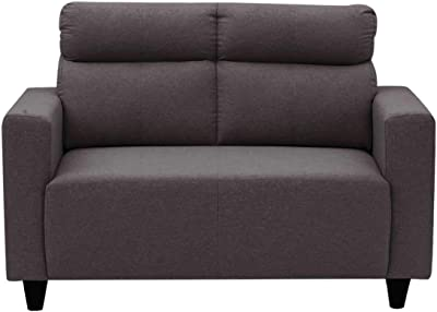 Furny 2 Seater Bravson Fabric Sofa Set (Dark Grey) for Living Room