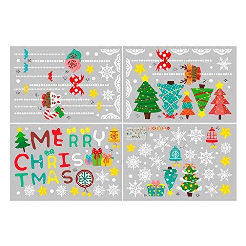 Coversolate Weihnachten Fensterbilder Selbstklebend Fensteraufkleber Weihnachtskugeln Weihnachtsbaum Fensterdeko Kinderzimmer Weihnachten Deko (35x45cm(4pcs))
