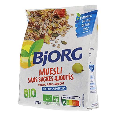 Bjorg Muesli Sans sucres ajoutés Bio - Mélange de fruits et céréales complètes - 375 g