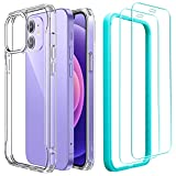 ESR Hybrid Sidekick Compatible with iPhone 12 Case and iPhone 12 Pro Case with 2 Tempered Glass Screen Protectors [Anti-Yellowing Hard Back] [Shockproof Protection] [Ergonomic Bumper], 6.1', Clear