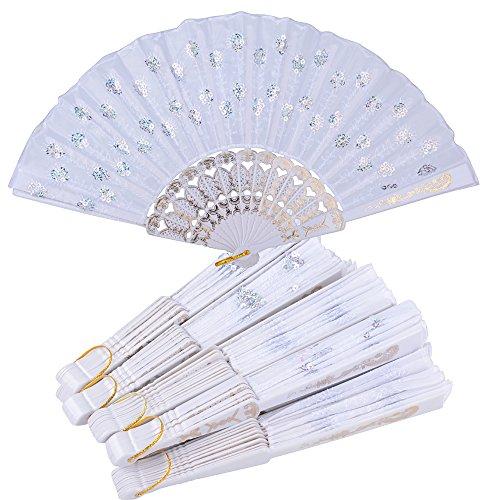 10pcs Abanicos Plegables Blancos de Plástico Tela Regalos